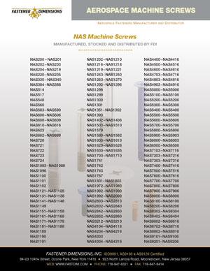 NAS Machine Screws