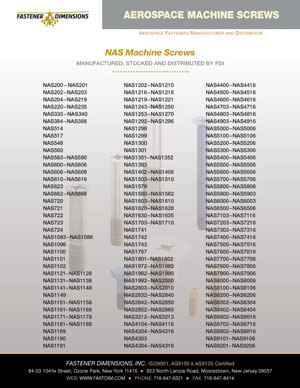 NAS Machine Screws